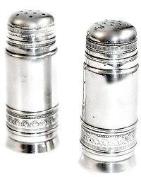 Antique Silver Plated Large Salt & Pepper Shakers