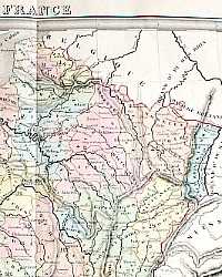Antique 1838 Hand Colored Map of France Andriveau-Goujon