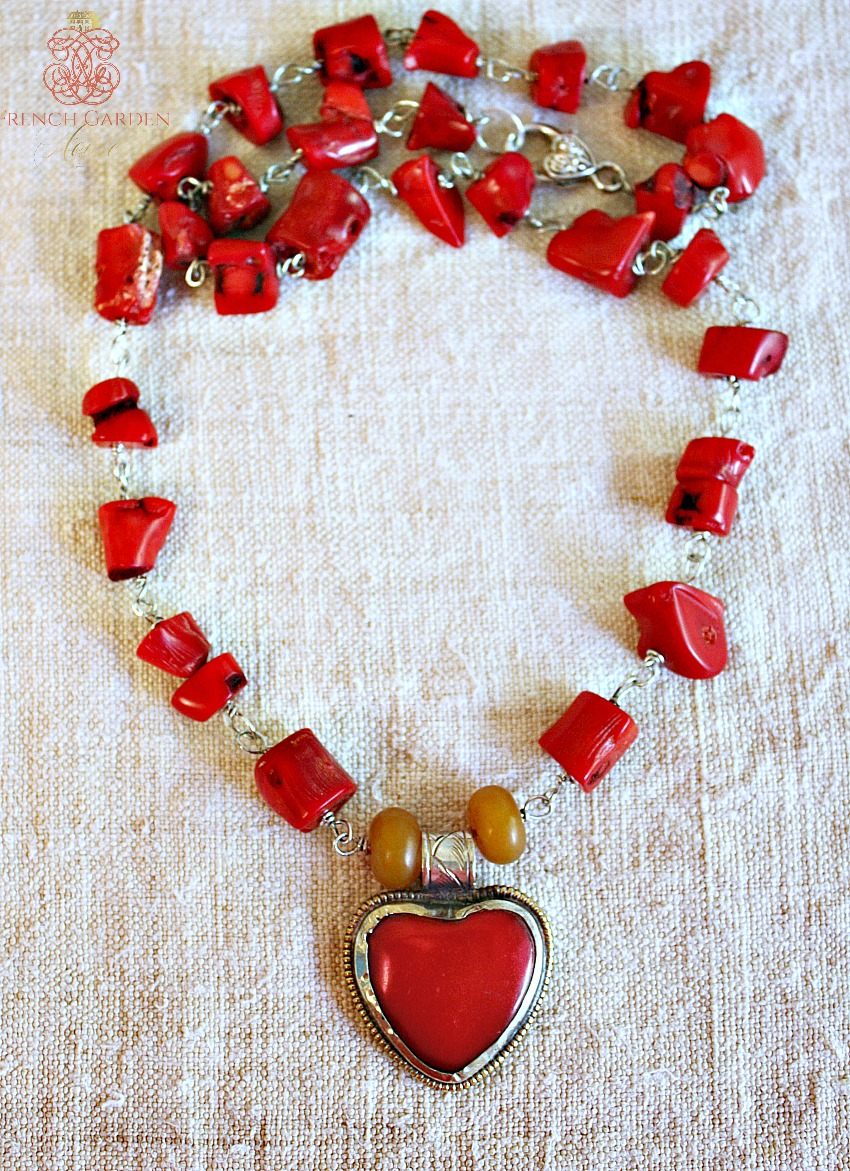 Gratitude Heart Coral Red Necklace