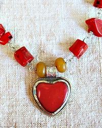 Bamboo Coral Gratitude Heart Necklace