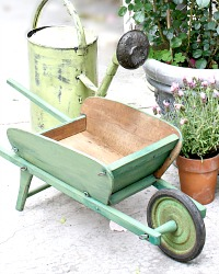 Vintage French Brouette Jardin Green Painted Children's Wheelbarrow