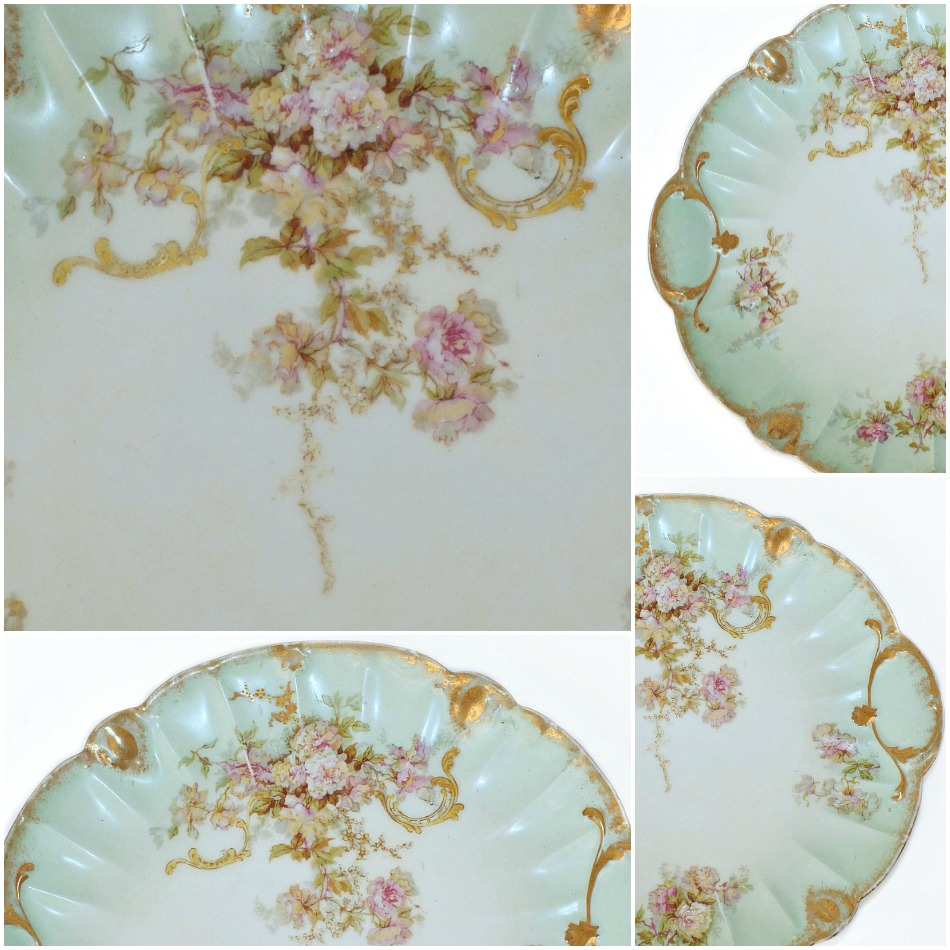Antique French Limoges Pink Roses Gateau Serving Plate