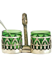 Vintage Art Deco Green Open Salt & Pepper Stand