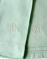 Vintage Hand Embroidered Monogram Hand Towels Green Pair
