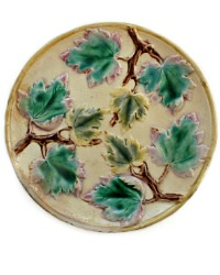 Antique Majolica Griffin Smith & Hill Maple Leaves Plate