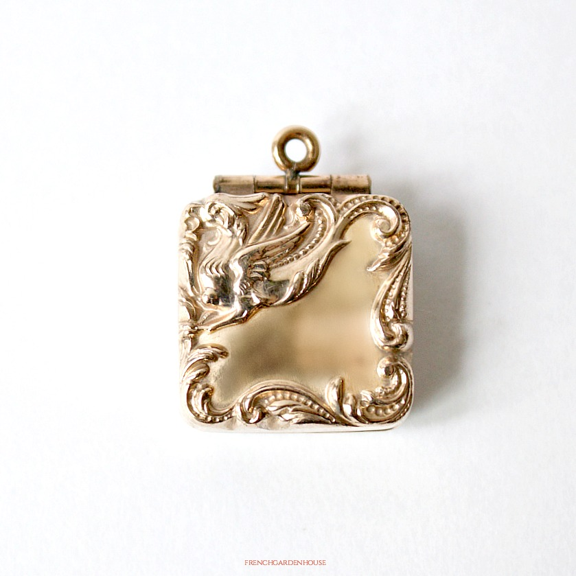Antique Square Double Sided Gold Griffin Locket