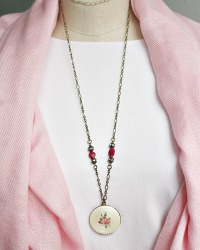 Georgia Hecht French Guilloche Pink Rose Locket Necklace