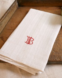 Antique French Linen Towel Monogram H B