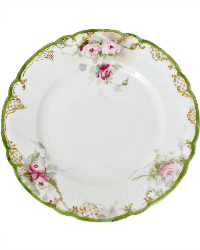 19th Century Hand Painted Limoges Roses Cabinet Plate