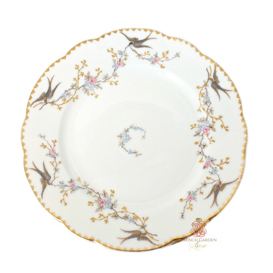 Antique Limoges Hand Painted Birds Garland Plates Set of 4