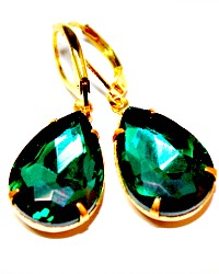Hollywood & Vine Emerald Green Rhinestone Earrings