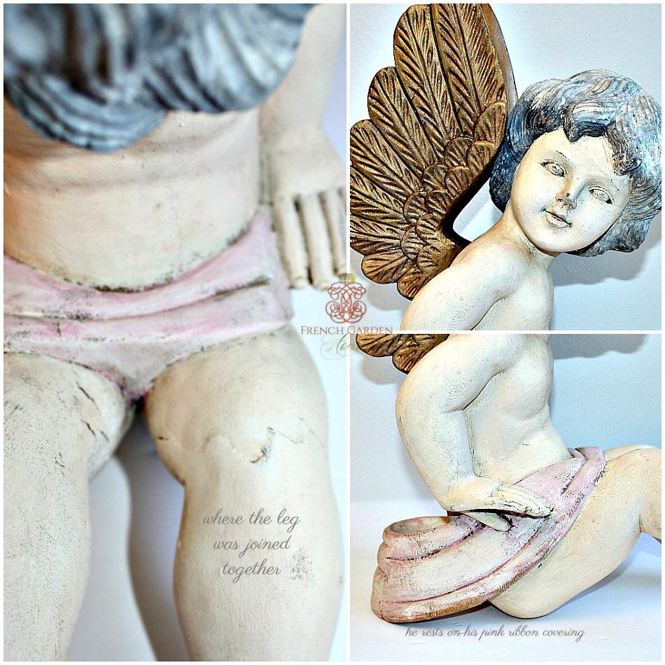 Vintage Shabby Large Hand Carved Wood Cherub Angel
