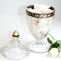 Vintage Hand Painted Glass Candy Container