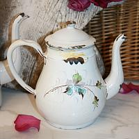Antique 19th Century Hand Painted Enamel Teapot Butterfly