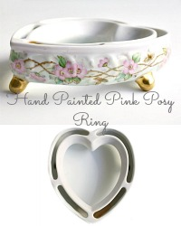 Antique Hand Painted Pink Roses Heart Shaped Posy Ring