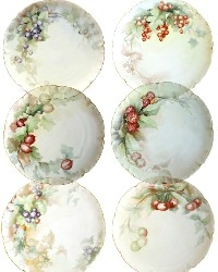 Antique Hand Painted Limoges Porcelain Berry Plate Set of 6