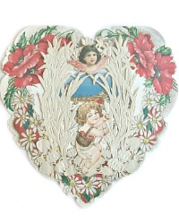 Rare Estate Antique Paper Lace Pop Up Heart Floral Valentine