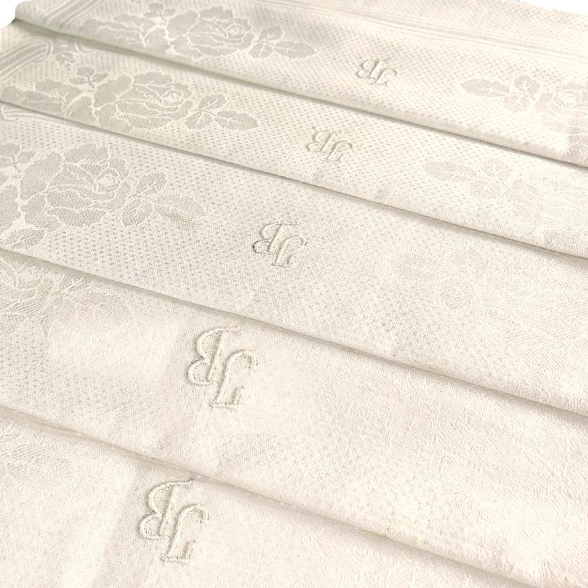 Antique Art Nouveau Rose Design Linen Damask Luxury Towel