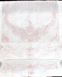 Vintage Madeira Organdy Pink and White Placemat Set for 8