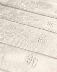 Antique Art Nouveau Rose Design Linen Damask Luxury Towel