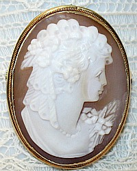 Estate Hand Carved Shell Cameo Portrait Brooch Pin Pendant