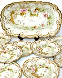 Antique 19th Century French Hand Painted Limoges Ice Cream Dessert Set Museum Quality