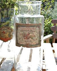 Antique French Glass Jar Heliotrope Blanc