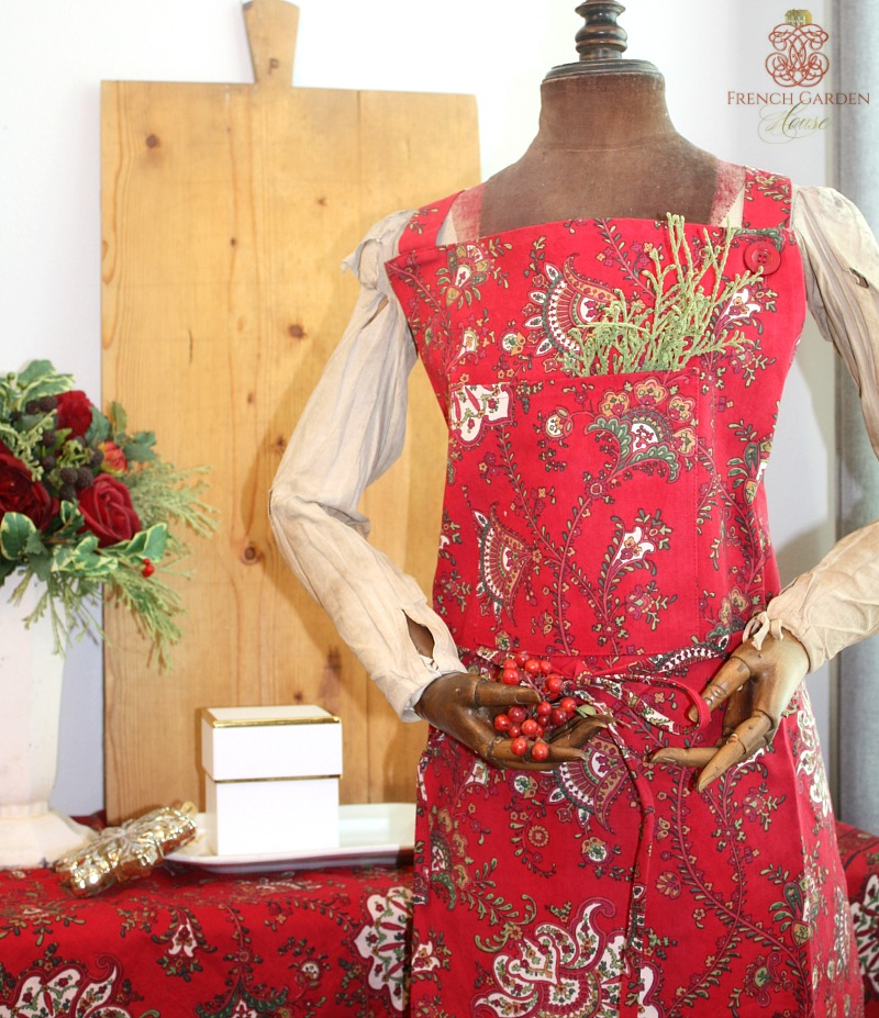 Kashmir Red Paisley Apron LAST ONE