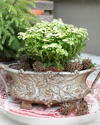 Antique French Silver Jardiniere Planter Holly