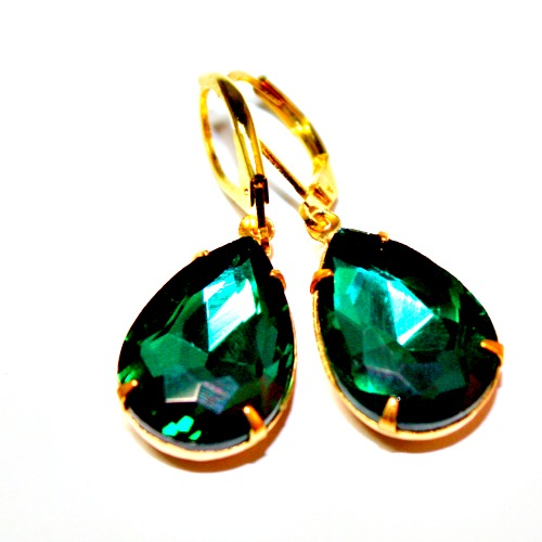 Hollywood & Vine Emerald Green Rhinestone Earrings