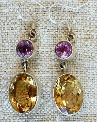 Citrine and Pink Amethyst Sterling Dove Earrings