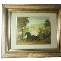Horse and Carriage Print in Antique Frame