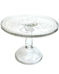Antique 19 th Century Estate Glass Good Luck Cake Pedestal