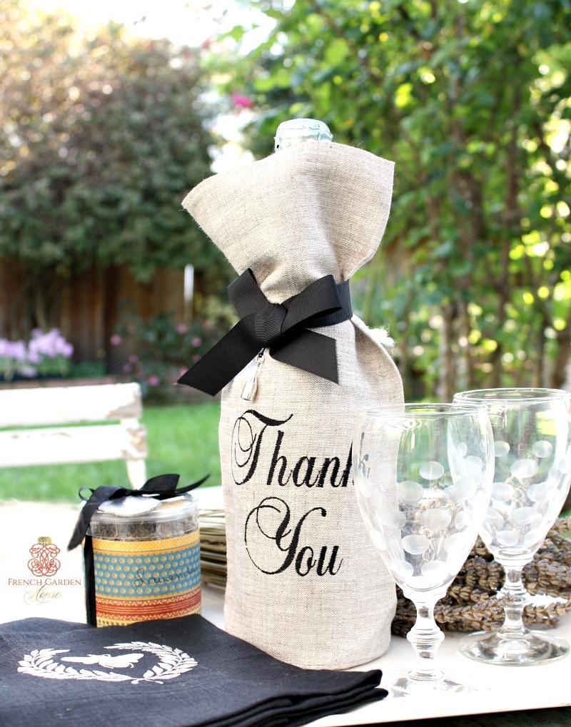 European Linen Flax THANK YOU Wine Gift Bag