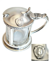 Antique Hotel Rumely Silver Mustard Pot with Insert