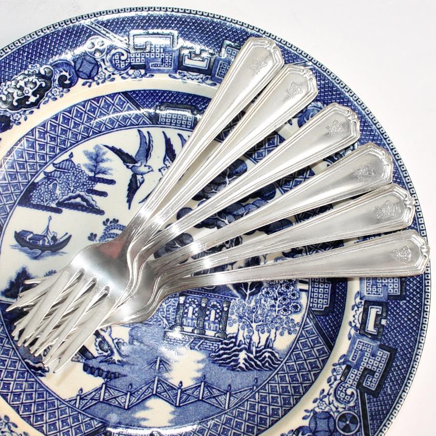 Vintage Hotel del Coronado Silver Dessert Forks Set 5