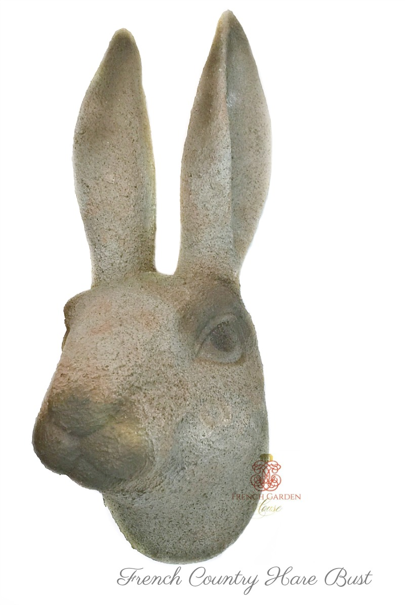 French Country Garden Stone Rabbit Bust