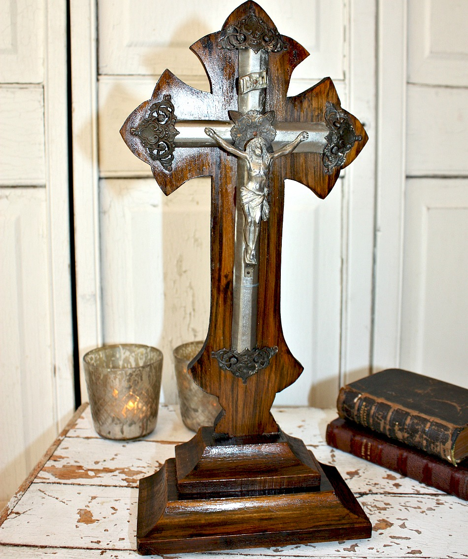 Antique French Hand Carved Wood Cross Crucifix