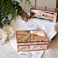 Vintage Pink Mirrored Vanity Jewelry Box