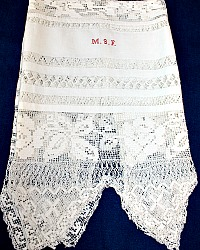 Antique French Hand Embroidered Filet Rose Lace Show Towel M S F
