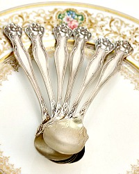 Antique 1903 Rogers Bros. Floral Silver Plate Ice Cream Spoons Set of 6