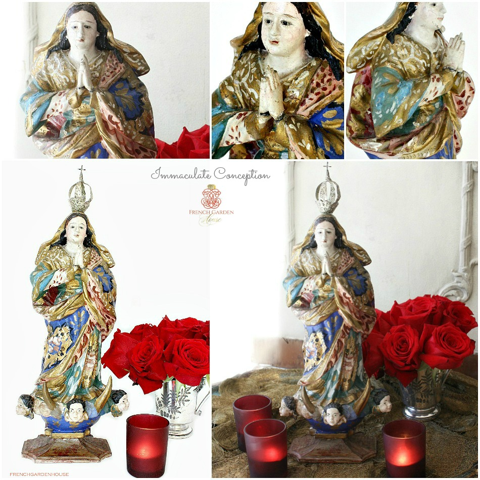 Antique Madonna Immaculate Conception Polychrome Wood