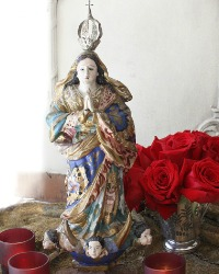 Antique Madonna Immaculate Conception Polychrome Wood Statue