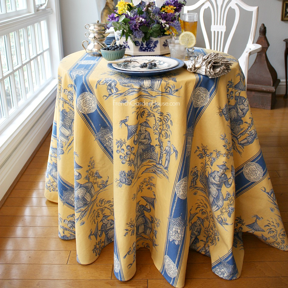 French Imperial Chinoiserie Tablecloth Blue & Yellow LAST ONE