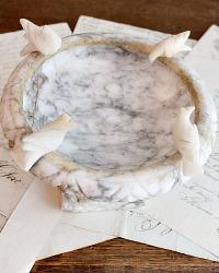 Vintage Italian Carved Alabaster Compote Doves
