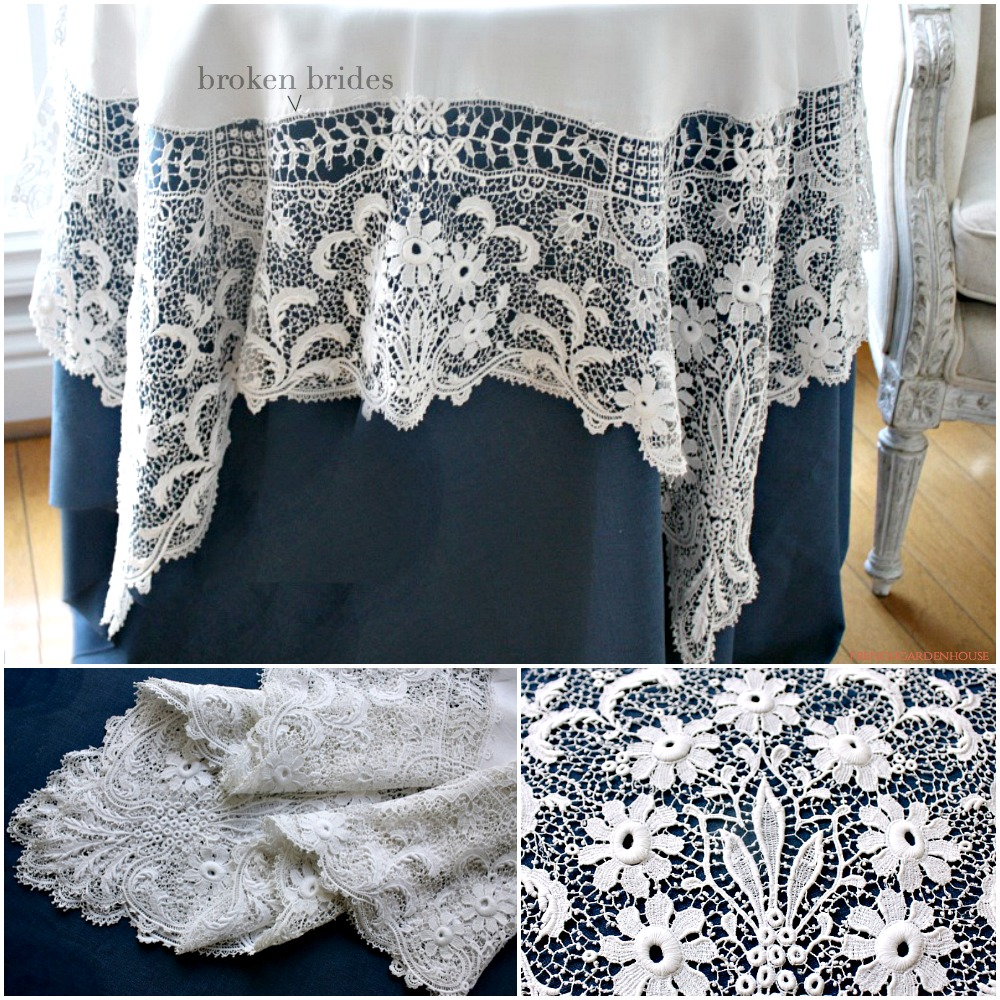 Superb Antique Linen Floral Italian Lace Tablecloth Round