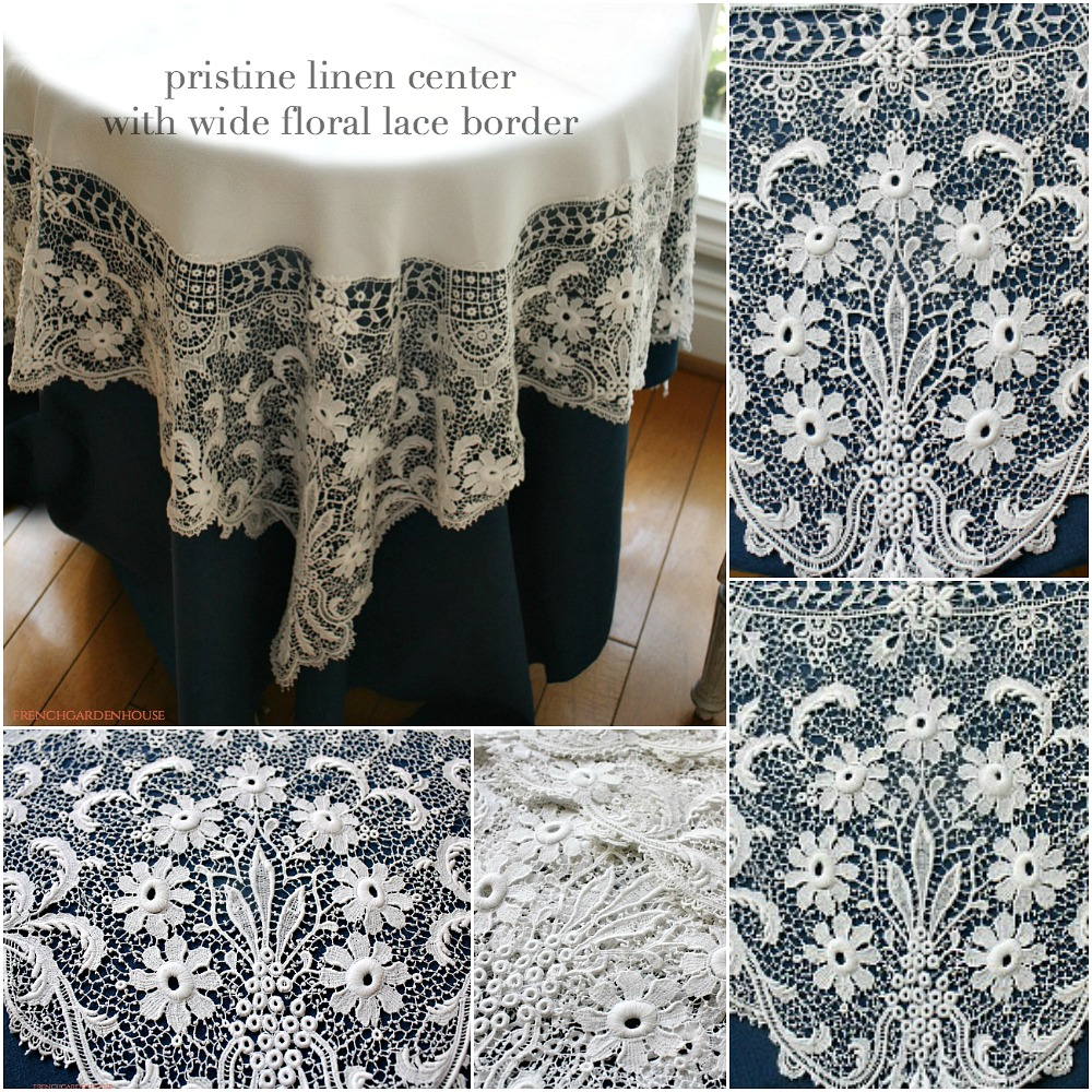 Antique Linen Floral Italian Lace Tablecloth Round