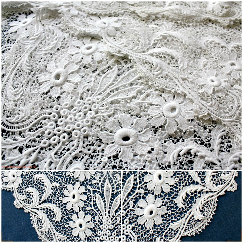 Awesome Antique Linen Floral Italian Lace Tablecloth Round