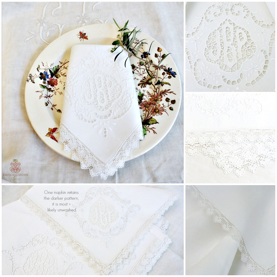 6 Exceptional Point de Venise Lace Monogram Napkins White