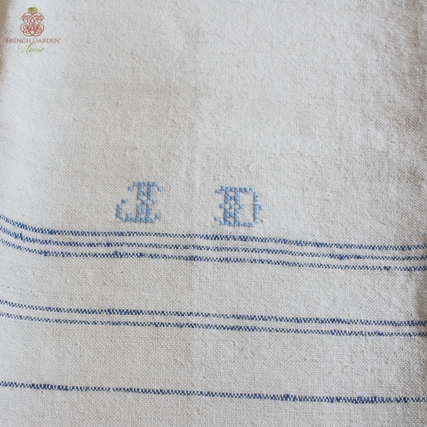 antique linen french kitchen towel light blue monogram j d